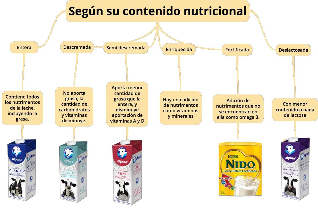 Clasificación de la leche según su contenido nutricional.